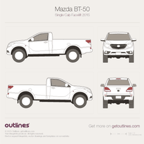 2015 Mazda BT-50 Single Cab Facelift Pickup Truck blueprint