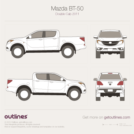2011 Mazda BT-50 II Double Cab Pickup Truck blueprint