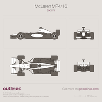 2001 McLaren MP4/16 F1 Formula blueprint