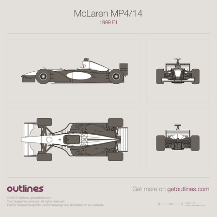 1999 McLaren MP4/14 F1 Formula blueprint