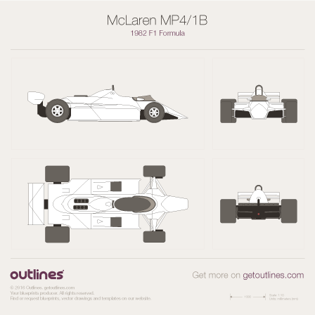 1982 McLaren MP4/1B F1 Formula blueprint
