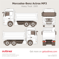 2009 Mercedes-Benz Actros MP3 2644 K Meiller Dreiseitenkipper Typ D316 Heavy Truck blueprint