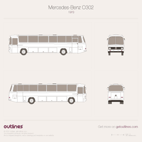 1965 Mercedes-Benz O302 Coach LWB Bus blueprint