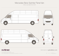 2003 Mercedes-Benz Sprinter Panel Van Extra Long High Roof Facelift Van blueprint