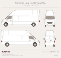 2003 Mercedes-Benz Sprinter Panel Van Extra Long Super-High Roof Facelift Van blueprint