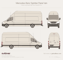 2014 Mercedes-Benz Sprinter Panel Van Extra Long Super-High Roof Facelift Van blueprint