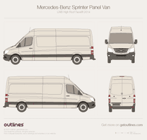 2014 Mercedes-Benz Sprinter Panel Van LWB High Roof Facelift Van blueprint