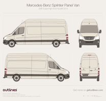 2014 Mercedes-Benz Sprinter  Panel Van LWB Super-High Roof Facelift Van blueprint