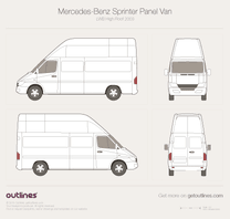 2003 Mercedes-Benz Sprinter Panel Van LWB Super-High Roof Facelift Van blueprint