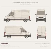 2014 Mercedes-Benz Sprinter Panel Van MWB High Roof Facelift Van blueprint