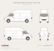 2003 Dodge Sprinter Cargo MWB High Roof Facelift Van blueprint