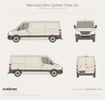 2014 Mercedes-Benz Sprinter Panel Van MWB Standard Roof Facelift Van blueprint