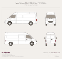 2003 Mercedes-Benz Sprinter Panel Van MWB Standard Roof Facelift Van blueprint