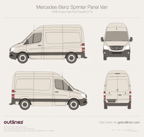 2014 Mercedes-Benz Sprinter Panel Van MWB Super-High Roof Facelift Van blueprint