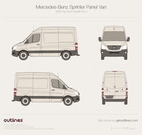 2014 Mercedes-Benz Sprinter Panel Van SWB High Roof Facelift Van blueprint