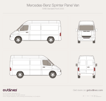 2003 Mercedes-Benz Transporter T1N Panel Van SWB Standard Roof Japan Van blueprint