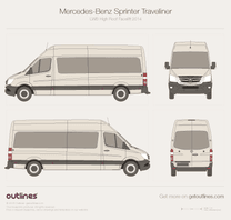 2014 Mercedes-Benz Sprinter Traveliner LWB High Roof Facelift Wagon blueprint