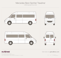 2003 Dodge Sprinter Passenger MWB Standard Roof Facelift Wagon blueprint