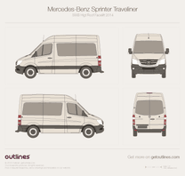 2014 Mercedes-Benz Sprinter Traveliner SWB High Roof Facelift Wagon blueprint