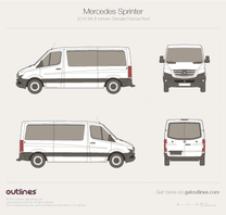 2018 Mercedes-Benz Sprinter Mk III Standart. Normal Roof Minivan blueprint