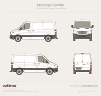 2014 Mercedes-Benz Sprinter Mk II Facelift Compact. Normal Roof Van blueprint