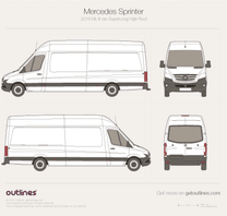 2018 Mercedes-Benz Sprinter Mk III Superlong. High Roof Van blueprint