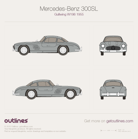 1955 Mercedes-Benz 300SL Gullwing W198 Coupe blueprint