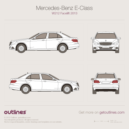 2013 Mercedes-Benz E-Class W212 Sedan blueprints and drawings