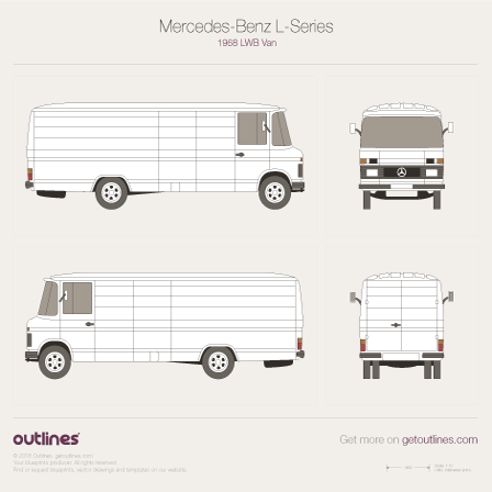 1968 Mercedes-Benz L-Series 508 LWB Van blueprint