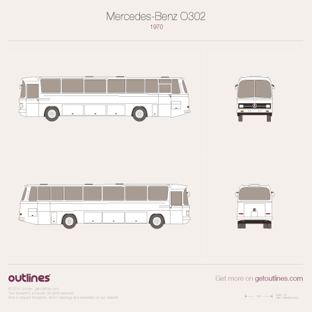 1965 Mercedes-Benz O302 Coach Bus blueprints and drawings