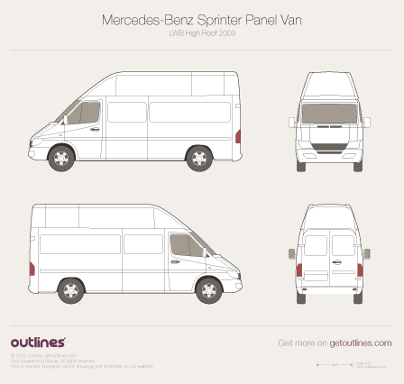 2003 Mercedes-Benz Sprinter Panel Van LWB High Roof Facelift Van blueprint