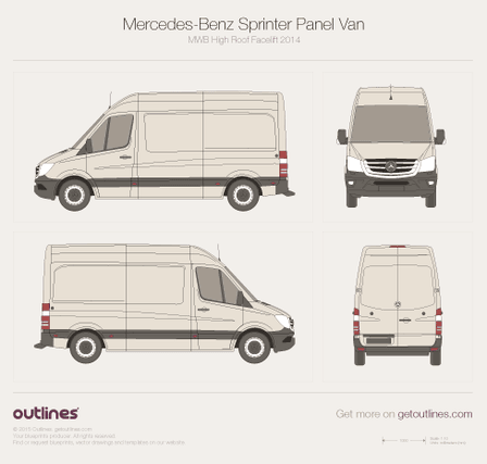 2014 Mercedes-Benz Sprinter Panel Van MWB High Roof Facelift Van blueprint