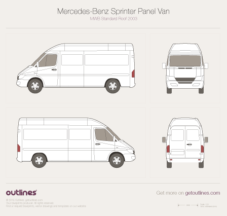 2014 Mercedes-Benz Sprinter Classic Panel Van Van blueprints and drawings