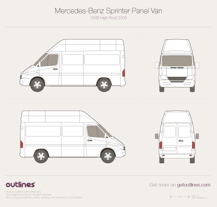 2003 Mercedes-Benz Sprinter Panel Van SWB High Roof Facelift Van blueprint