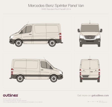 2014 Mercedes-Benz Sprinter Panel Van SWB Standard Roof Facelift Van blueprint