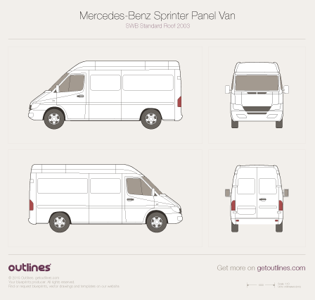 2003 Mercedes-Benz Sprinter Panel Van SWB Standard Roof Facelift Van blueprint