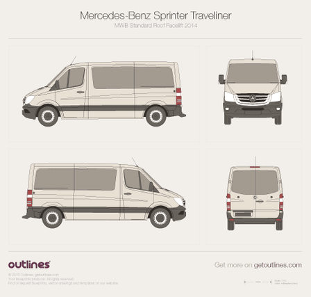 2014 Mercedes-Benz Sprinter Traveliner MWB Standard Roof Facelift Wagon blueprint