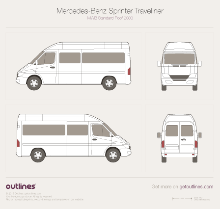 2003 Mercedes-Benz Sprinter Traveliner MWB Standard Roof Facelift Wagon blueprint