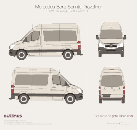 2014 Mercedes-Benz Sprinter Traveliner MWB Super-High Roof Facelift Wagon blueprint