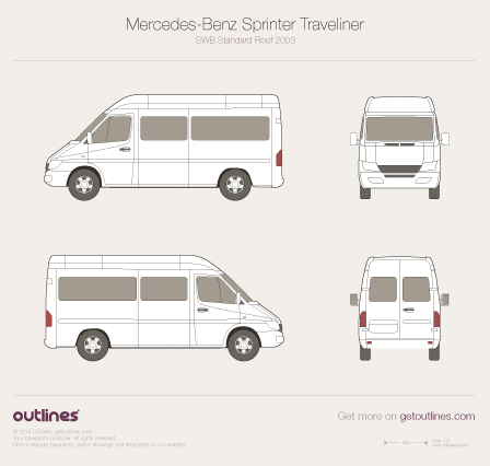 2003 Mercedes-Benz Sprinter Traveliner SWB Standard Roof Facelift Wagon blueprint