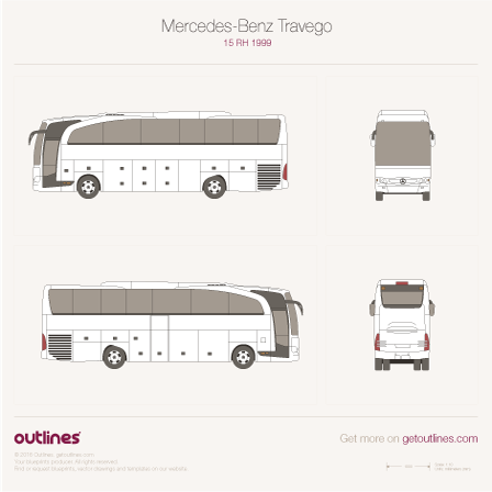 2006 Mercedes-Benz Travego RHD O 580 Bus blueprint