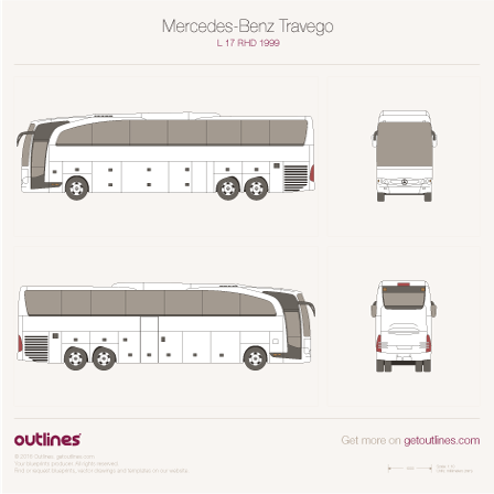 1999 Mercedes-Benz Travego L 17 RHD Bus blueprint