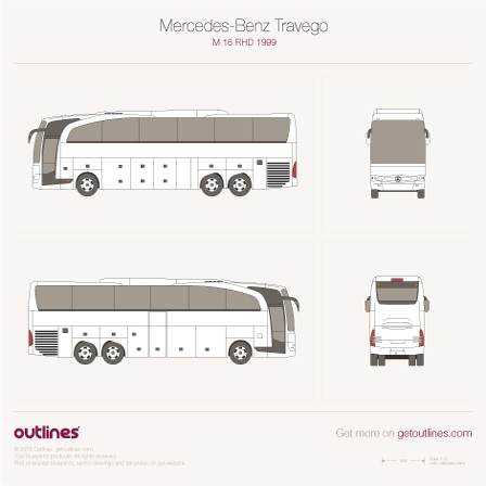 2006 Mercedes-Benz Travego RHD-M Bus blueprints and drawings