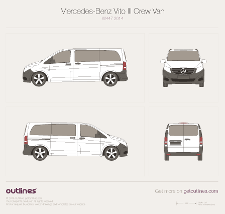 2014 Mercedes-Benz Vito W447 Crew Van Van blueprints and drawings