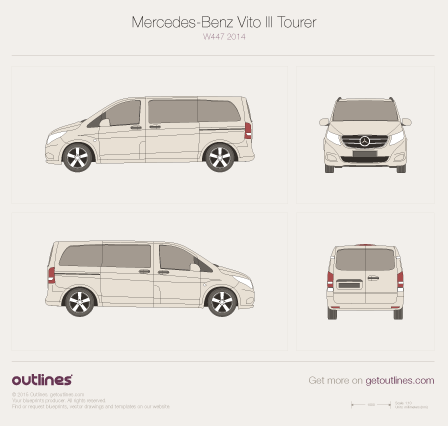 2014 Mercedes-Benz Vito W447 Tourer Minivan blueprint