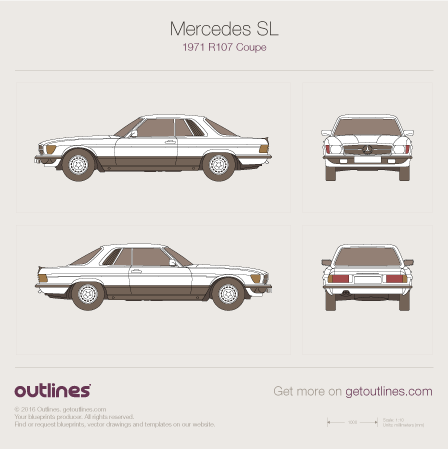 1971 - 1989 Mercedes-Benz SL-Class R107 Coupe drawings