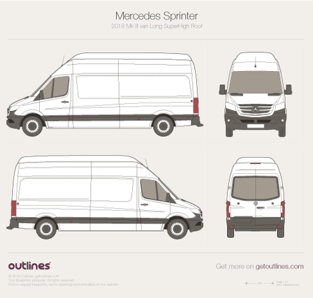 2018 Mercedes-Benz Sprinter Mk III Superlong. Superhigh Roof Van blueprint
