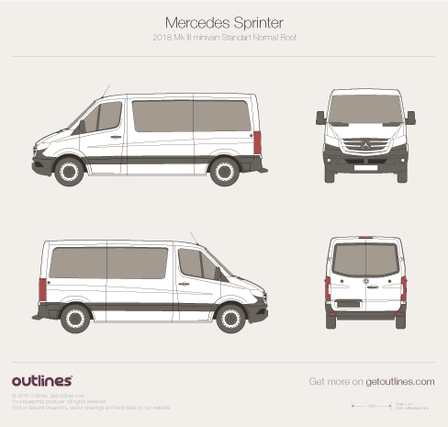 2018 Mercedes-Benz Sprinter Mk III Standart. Normal Roof Minivan blueprint