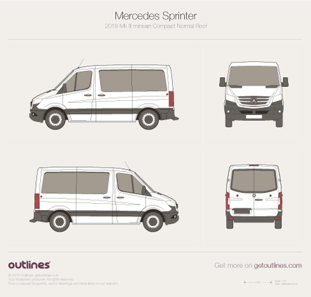 2018 Mercedes-Benz Sprinter Mk III Compact. Normal Roof Minivan blueprint