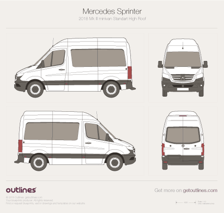 2018 Mercedes-Benz Sprinter Mk III Minivan blueprints and drawings
